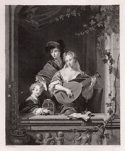 "Magnificent 1800s PHILIP VANDYKE Engraving ""Domestic Harmony"" Framed Signed COA"