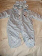 Boy 1 PC Child Of Mine Blue Sleeper Hooded Outerwear Fleece Feet Zip 3-6 Mths LN