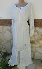 Italy Maxi-Kleid BeINN Shabby Romantik Ibiza Off White Baumw Spitze Häkel L/XL
