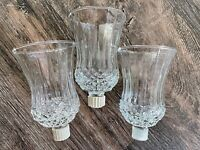 3 Vtg Clear Peg Votive Candle Holders Diamond Pattern Ribbed Sides Homco ? C