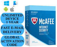 McAfee Internet Security UNLIMITED DEVICE 1 YEAR GLOBAL KEY 2021 EMAIL ONLY
