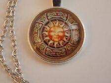 Glass Cabochon CELTIC KNOT TRIQUETRA VINTAGE SUN FACE Pendant Necklace UK Seller