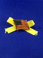 US Flag Pin with Yellow Ribbon 1990s Patriotic Button Brooch American Flag