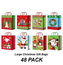BULK 24 X Large Christmas Gift Bags With Tags and Carry Handles 33 X 26 X 13cm