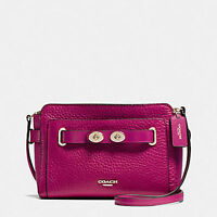 NWT Coach Blake Crossbody In Bubble Leather 35688 IM(Light Gold)/Cranberry