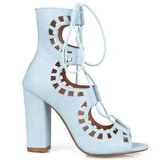 Sky blue Cognac Lace up Peep toe Chunky Heel Pump Women's shoes Dove
