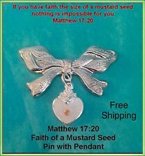 Woman Religious Jewelry Gift Mustard Seed Heart Charm Pin Faith Jesus Parable