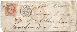 France small cover to Herefordshire 1858 per scan