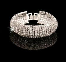 LUXURY CURVED PAVED CLEAR DIAMANTI RHINESTONE CRYSTAL WEDDING PARTY  BRACELET