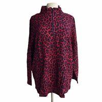 DENIM CO Women's Plus Size 3X Raspberry Active Animal Print Waffle Knit Zip Top