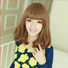 US Lady Medium Long Neat Bang Full Wig Wavy Curly Light Brown Hair Cosplay Wig