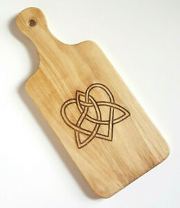 "Celtic Love Cutting Board With Handle 13"" x 5 1/2"" x 3/4"" Handmade Cutting Board"