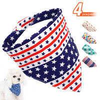 4pcs Dog American Flag Bandana Collar Cotton Pet Puppy Neck Scarf Neckerchief