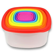 14 Piece Plastic Food Storage Container Set Bright Colored Air Tight Lids