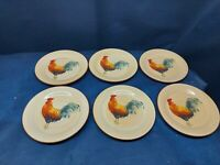 """Vintage Oneida Stoneware """"Morning Rooster"""" Set/6 Bread/Butter Plates Retired"""