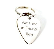 Stainless Steel Key chain Guitar Pick - Customize any Name or Message