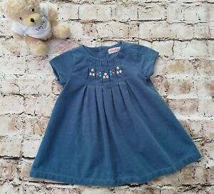 Baby Girls Kath Kidston Blue Fine Cord Embroidered Dress Age 3-6 Months