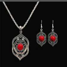 Tibetan Silver Women Pendant Necklace Dangle Earrings Turquoise Jewelry Sets G02