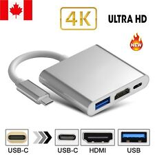 New USB 3.1 Type-C to HDMI USB 3.0 HUB USB-C 3IN1 Charging Port Adapter Cable