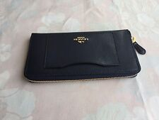 NWT Coach F54007 Authentic Leather Accordion Zip Around Wallet Black $250