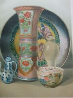 ANTIQUE PRINT C1870'S CERAMIC ART LITHOGRAPH CHINESE AND JAPANESE PORCELAIN ART