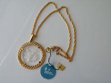 Crown Trifari Aquarius Gold plate pendant, chain. Zodiac Sign Necklace. Tag. NOS