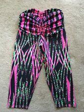 FitFit Brasil Ruched Crop Capri Yoga Pants Leggings PINK BLACK LIME SM MSRP $78