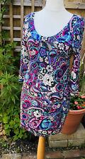Savoir Uk14 New Floral  Viscose Tunic Mini Dress Blue