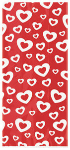 20 x Red Heart Cellophane Favour Bags Valentine Heart Treat Sweets Party Bags