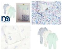3  MOTHERCARE Bunny Sleepsuits Babygrow New Born - 1 - 3 Months