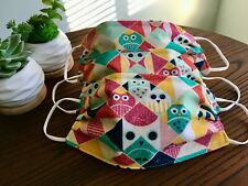 Handmade Face Mask with Nose Bridge - Geo Owls