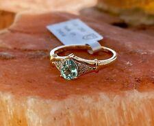Estate Genuine LTD 0.55Cts Paraiba Tourmaline & Diamond 18K Gold Ring Sz 7 COA