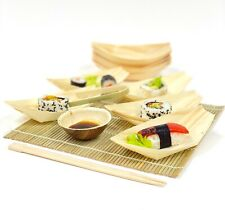 More details for wood bamboo serving boat/bowl - disposable eco natural catering snack party