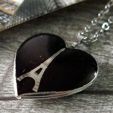 Paris Eiffel Tower Silver Heart Love Picture Locket Pendant Necklace