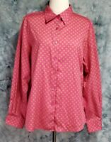 Foxcroft Womens sz 14 Pink Green Floral Shaped Fit Wrinkle Free Button Down Top