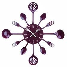 Premier Housewares Purple Cutlery Design Home Kitchen Modern Stylish Wall Clock