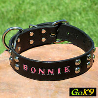 "Domed Studed Black/Espresso Leather 1.5"" Dog Collar Personalized Pet Name"