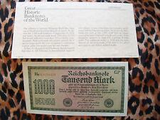 Great Historic Banknotes Germany 1922 1000 Marks  UNC Prefix Hc689869GP