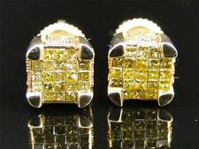 Yellow Gold Princess Cut Ice Cube Canary Diamond Invisible Set Stud Earrings