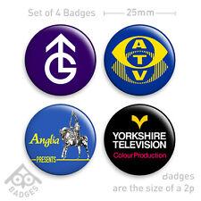 ATV, ANGLIA, GRANADA, YORKSHIRE TV Identities Retro - Set of 4 x 25mm Badges