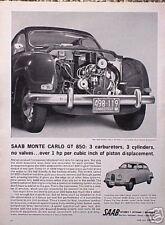 1964  Saab Monte Carlo GT 850 ORIGINAL Vintage Ad CMY STORE 4MORE  5+= FREE SHIP