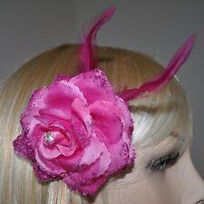 Flores Fucsia Fucsia flores rosa pelo pinza BRILLO Plumas Adorno Para Cabello
