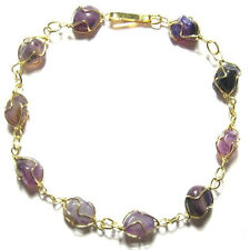AMETHYST BRACELET UNUSUAL GEMSTONE CHAIN ADJUSTABLE STONE ALLOY PURPLE