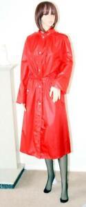 CRIMSON RED SHINY WETLOOK ACRYLIC LOOK NYLON LONG GOVERNESS MAC RAIN COAT Large