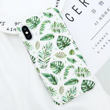 For iPhone X 8 6S 7 Plus Slim Leaf Patterned Shockproof Matte Hard PC Case Cover