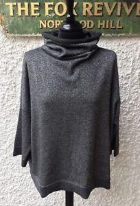 N Peal 100% Cashmere Metallic Dark Grey / Silver Funnel Neck Jumper One Size