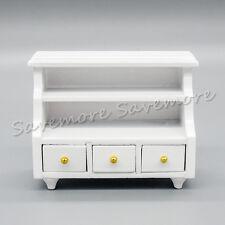 1/12 Dollhouse White Wood Bathroom Bedroom Cabinet w/ Drawer Furniture Miniature