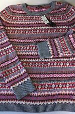 New NWT Talbots S Fair Isle Nordic Soft Wool Blend Sweater Pink White Grey