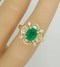 ESTATE 18K YELLOW GOLD BAGUETTE / MARQUISE DIAMOND & GREEN EMERALD LADIES RING