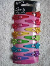 12 Goody Glam Girls Bright Painted Metal Snap Hair Clips Plastic Flower Gems